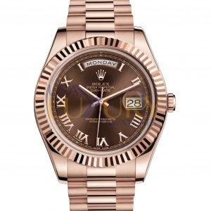 Rolex Day-Date II 218235 Rose Gold Chocolate Roman Dial 41mm Watch