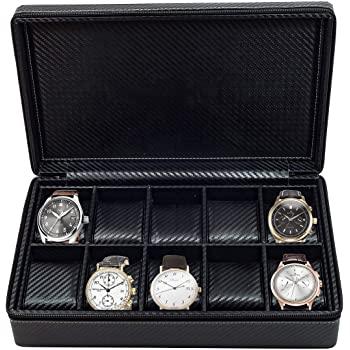 Watch Case Briefcase-TRANSFORMER Black Zippered Travel Leather Carbon Fiber Storage Great gift idea