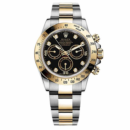 Rolex Daytona Black Diamond Dial 18k Yellow Gold and Stainless Steel Men's Watch 116523BKD