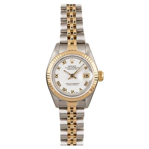 Rolex Datejust Two-Tone 69173 White Roman Numeral Dial Jubilee Bracelet Watch