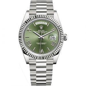 Rolex Day-Date 228239 Scrambled 18k White gold Green Dial Watch