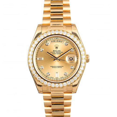 Rolex Oyster Perpetual Day-Date II President Yellow Gold - Diamond Bezel Watches 218348 chdp