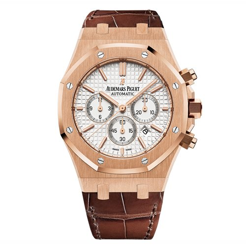 Audemars Piguet Royal Oak Chronograph 41mm Rose Gold White Dial Leather Strap Watch 26320OR.OO.D088CR.01