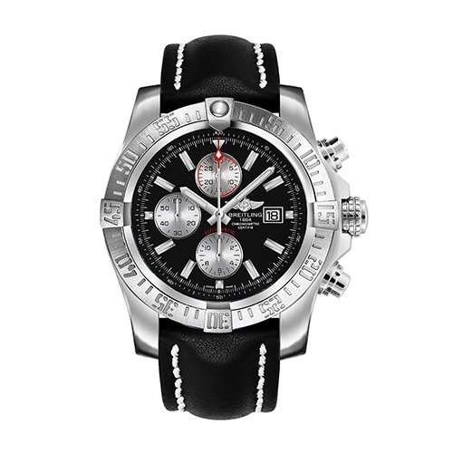 Breitling Super Avenger II Chronograph Automatic Black Dial Black Rubber Men's Watch A1337111-BC29