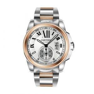 Cartier Calibre de W7100036 18K Rose Gold & Steel Automatic Men's Watch