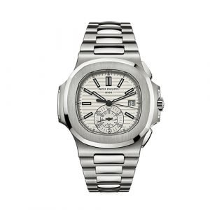 Patek Philippe 5980/1A-019 Nautilus Silver Dial Chronograph Stainless Steel Watch
