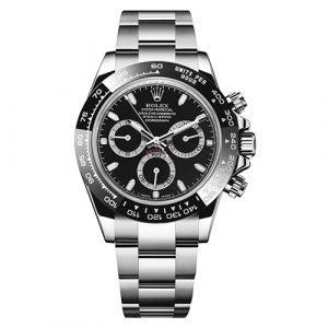 Rolex Daytona 116500LN Scrambled 40mm Polished 904L Stainless Steel Black Dial Watch