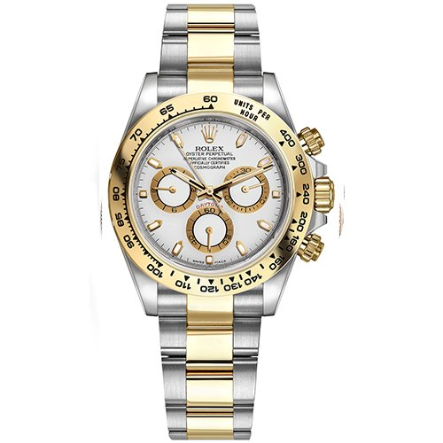 Rolex Cosmograph Daytona Stainless Steel And 18K Yellow Gold Oyster Bracelet White Dial Automatic 40mm Watch 116503