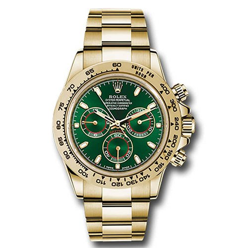Rolex Cosmograph Daytona 116508 Green Dial 18k Yellow Gold Oyster Watch