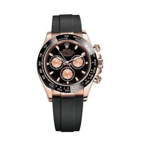 Rolex Cosmograph Daytona 116515LN Pink and Black Oysterflex Everose Gold Mens Watch
