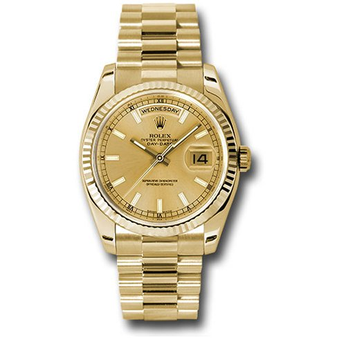 Rolex Oyster Perpetual Day-Date President Yellow Gold - Fluted Bezel Watch 118238 chsp