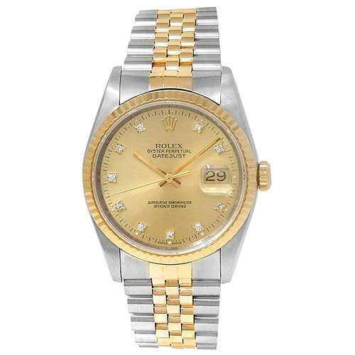 Rolex Datejust Champagne Diamond Dial Men's Watch 16233