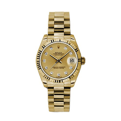 Rolex Datejust 31mm - Gold President Yellow Gold - Fluted Bezel - Oyster Perpetual 178278 chdp Watch
