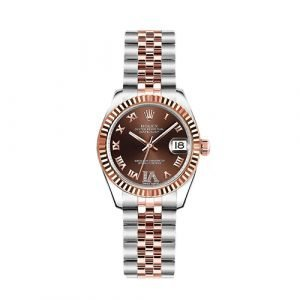 Rolex Lady-Date Just 179171 Scrambled Chocolate Diamond Dial with Diamonds Steel and 18K Gold Watch