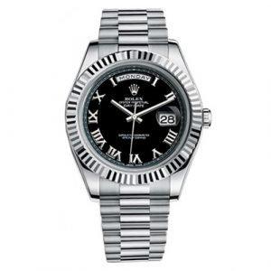 Rolex Day-date II 218239 18k white gold 41mm Black dial Roman numbers fluted bezel scrambled President bracelet. Unworn