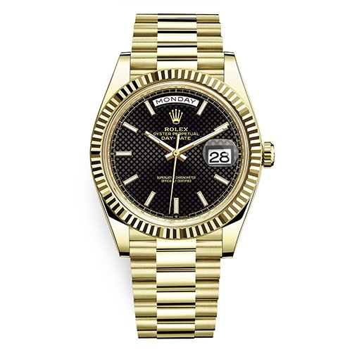 Rolex President Day-Date 228238 18K Yellow Gold Black Diagonal Motif Dial Unworn