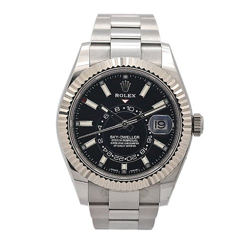 Rolex Sky-Dweller 326934 42mm Black Index Dial 18k White Gold And Stainless Steel Watch