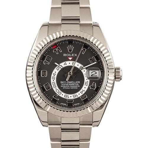 Rolex Sky-Dweller 326939 scrambled 42mm 18K white gold black dial. Pre-Owned