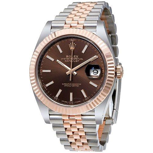 Rolex Datejust 41mm 18k Two Tone Eeverose Rolesor Chocolate Dial Jubilee Watch 126331