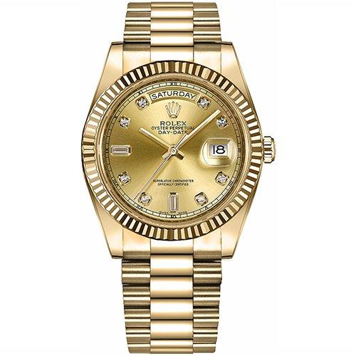 Rolex 218238 Day-Date II 18k Yellow Gold Champagne Diamond Dial Watch