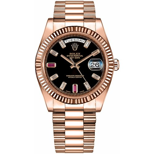 Rolex Day-Date II 218235-BLKDFP 41mm Black Baquette Diamonds Ruby Fluted Rose Gold President