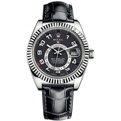Rolex Sky-Dweller 326139 Scrambled 42mm 18K White Gold Black Dial Black Alligator Leather Strap Pre-Owned