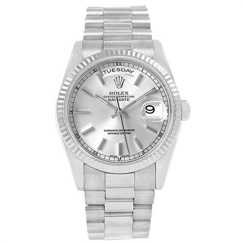 Rolex Day-Date 118239 Silver Dial 18k White Gold President Automatic Watch