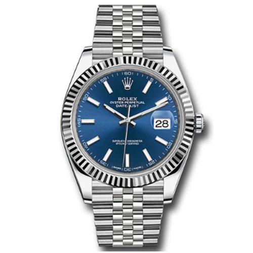 Rolex Datejust Blue Index Jubilee 41mm Stainless Steel Watch 126334