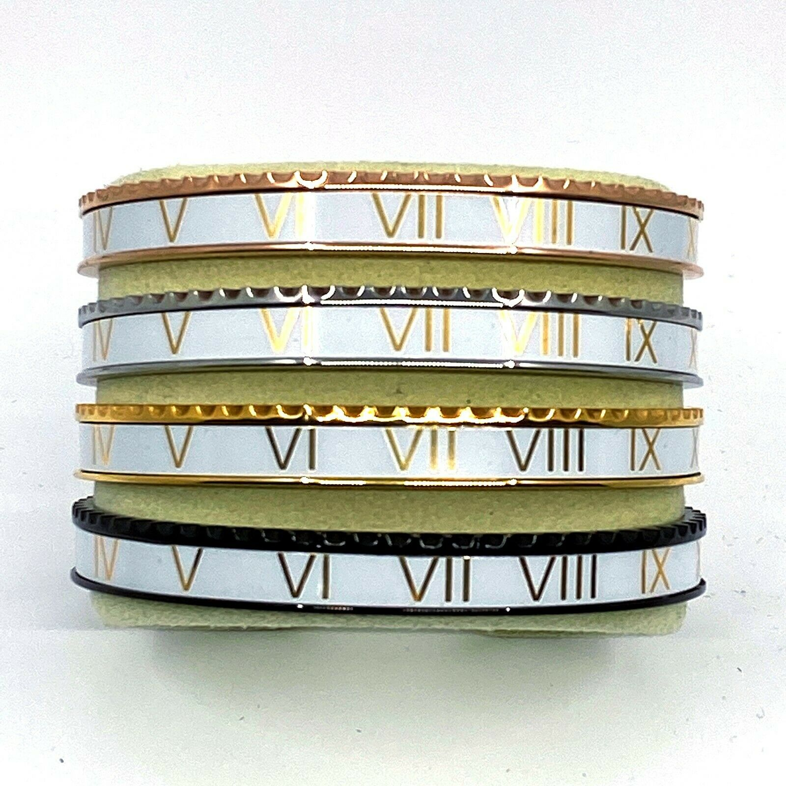 White & Gold Speedometer Style Bracelet 1pcs Stainless Steel Watch Bangle