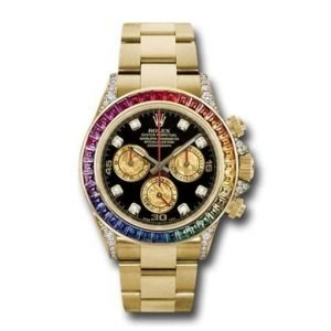 ROLEX Oyster Perpetual Daytona 16528 40mm 18k Yellow Gold With Rainbow Sapphires And Diamonds Bezel