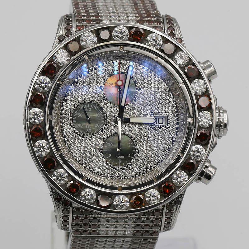 Breitling Super Avenger Chronograph A13371 48mm Stainless Steel With Custom-Madre Diamond And Rubies Bezel
