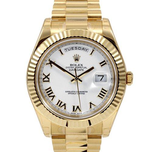Rolex Day-Date 218238 President 41mm White Roman 18k Yellow Gold Watch