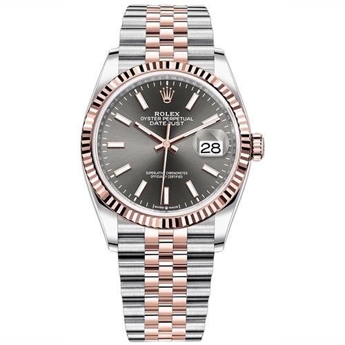 Rolex Datejust Dark Rhodium 36mm Two-Tone 18k Everose Gold Watch 126231