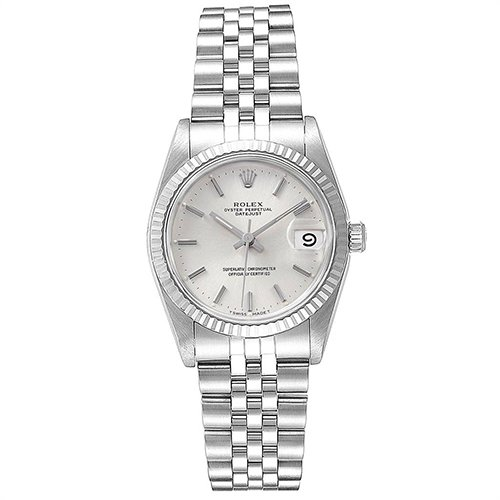 Rolex Datejust 68274 Silver Dial With Diamonds 18k White Gold And Stainless Steel Watch