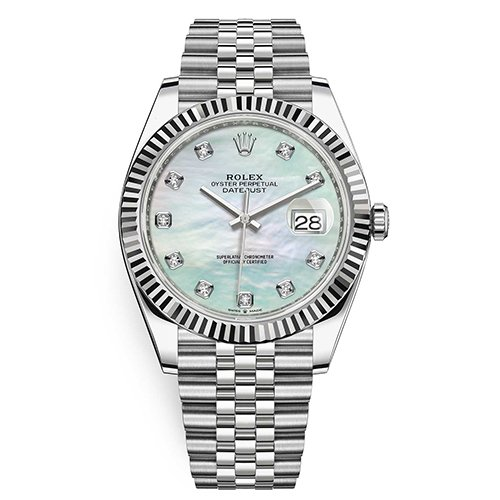 Rolex Datejust White MOP Diamond Dial 41mm Watch 126334 - Big Watch Buyers NYC