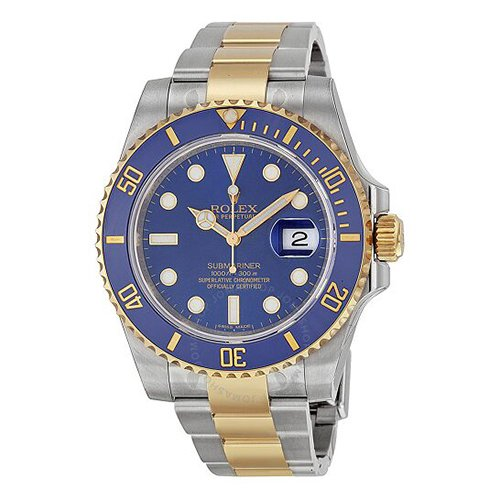 Rolex Submariner Two Tone Blue Dial Watch 116613LB