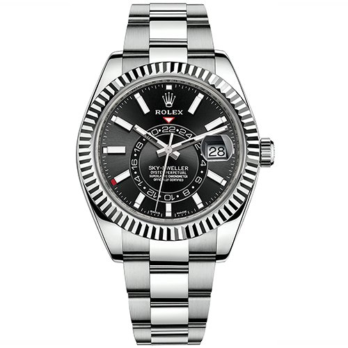 Rolex Sky-Dweller 42mm Black Index Dial 18k White Gold And Stainless Steel Watch 326934