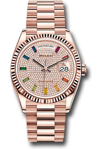 Rolex Day-Date 128235 18k Everose Gold President Diamond Paved Rainbow Dial