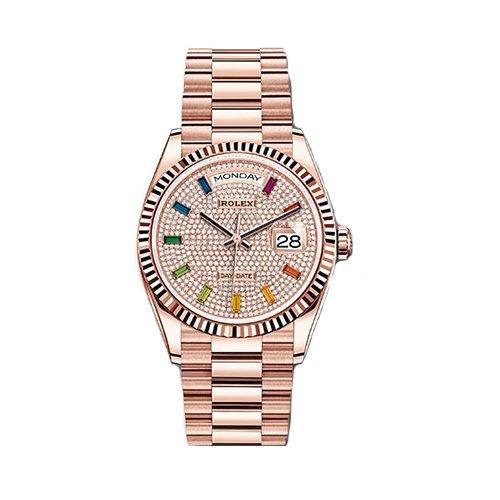 Rolex Day-Date 128235 18k Everose Gold President Diamond Paved Rainbow Dial Watch