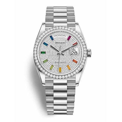 Rolex White Gold Day-Date 36 128349RBR Diamond Bazel Diamond Paved Rainbow Sapphire Dial Watch