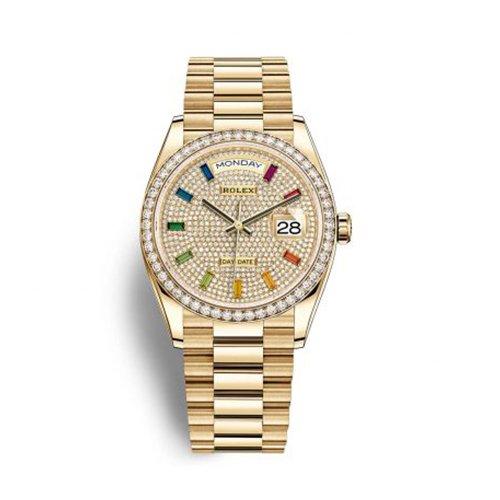 Rolex Day-Date 36mm Diamond Bezel Diamond-Paved Rainbow Sapphire Dial Watch 128348RBR