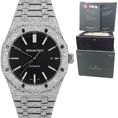 Audemars Piguet 15400ST Royal Oak Custom Diamond Black Dial Watch