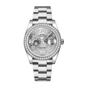Rolex Datejust 36mm Silver Floral Diamond Watch 116244