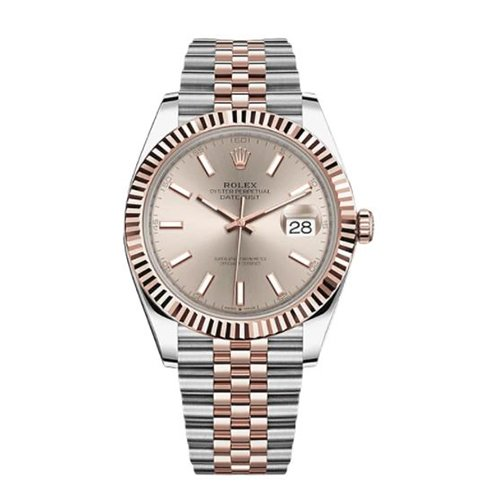 Rolex 126331 Datejust 41mm 18k Two Tone Everose Rolesor Sundust Dial Jubilee Watch