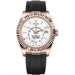 Rolex Oyster Perpetual Sky-Dweller 326235 18k Everose Gold White Dial Watch