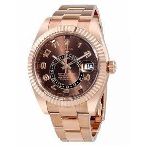 Rolex Oyster Perpetual Sky-Dweller 326235 18k Everose Gold Chocolate Dial Watch