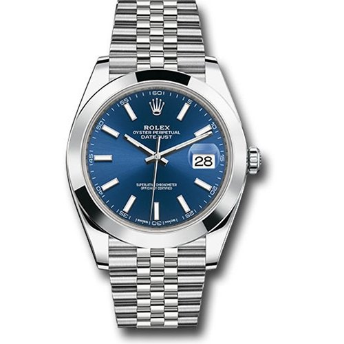 Rolex 126300 Datejust 41mm Smooth Blue Stick Dial Watch