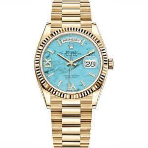 Rolex Day-Date 128238 36mm Turquoise Dial Women's Watch