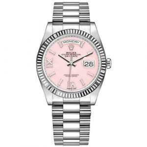 Rolex Day-Date 128239 36mm Pink Opal Diamond Dial White Gold Watch