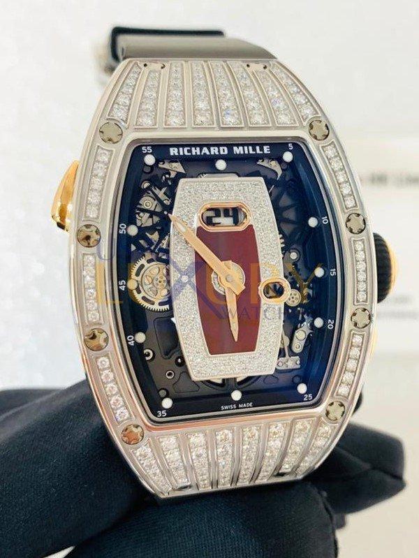 Richard Mille RM 037 White Gold Medium Set Red Jasper Dial